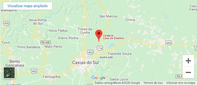 Mapa de localização da Celebrar Casa de Eventos
